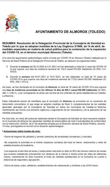 Resolución de la Delegación Provincial de la Consejería de Sanidad en Toledo debido a la situación epidemiológica.