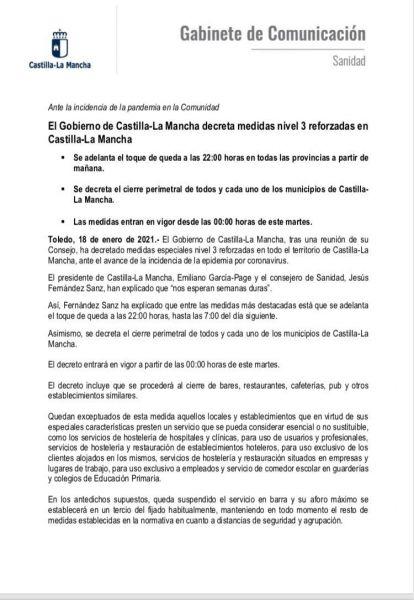 El Gobierno de Castilla la Mancha decreta medidas nivel 3 reforzadas en Castilla la Mancha