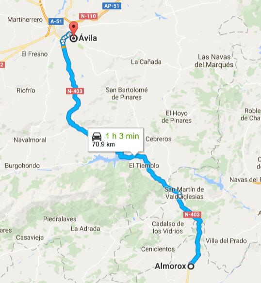 Ruta principal Almorox Ávila