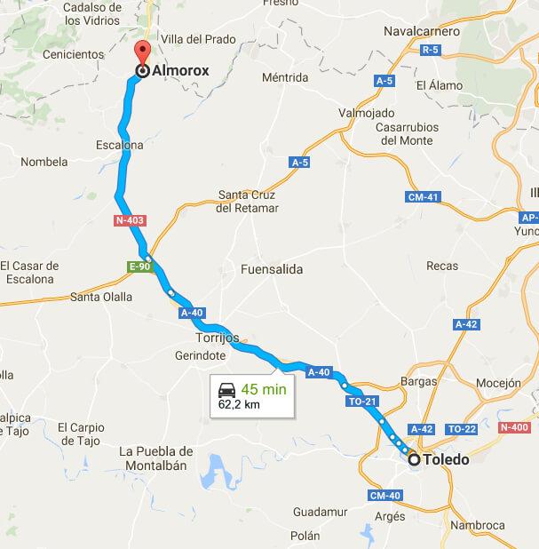 Rutas desde Almorox a Toledo