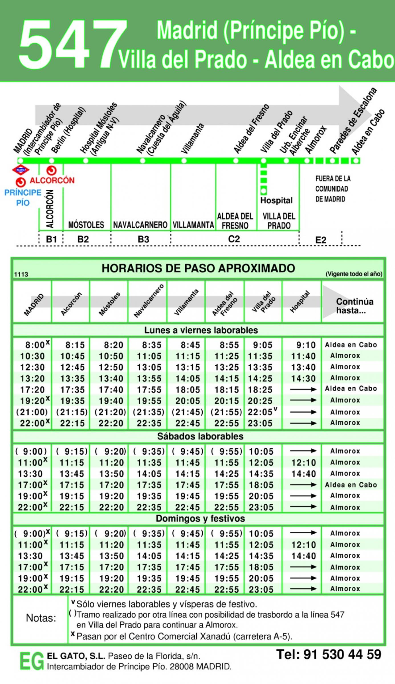 Horarios de ida a Madrid