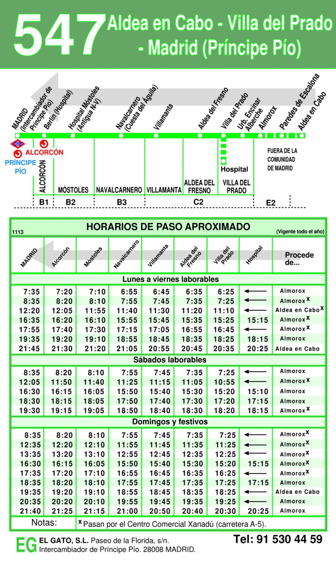 Horarios Almorox Madrid